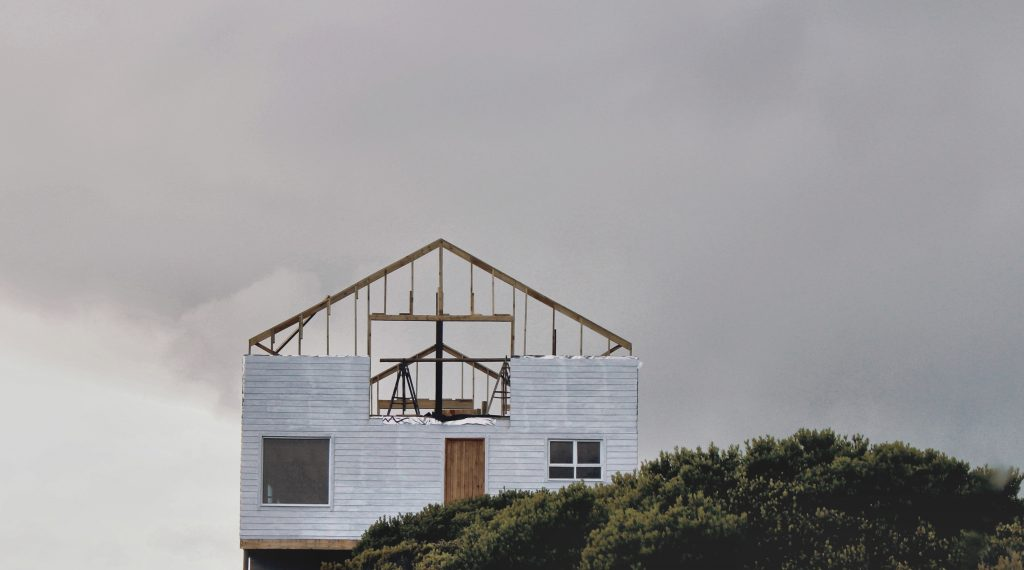 House half build with the frame showing