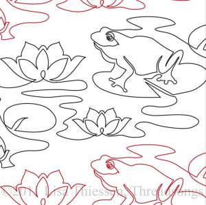 Continuous line drawing of frogs on lily pads interspersed with water lily blooms.