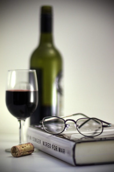 wine, book, glasses